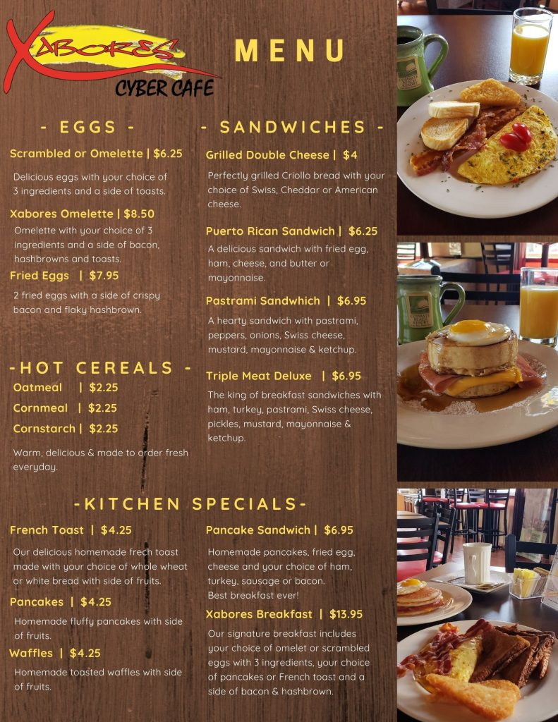 XABORES Cyber Cafe Menu A
